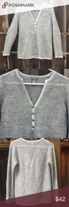 Ann Taylor🐰Sweater Lightweight dressy silver thread sweater. Excellent gently used condition  Fancy buttons Wool/mohair blend Henley v-neck Ann Taylor Sweaters V-Necks
