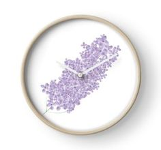 'Beautiful Lilac Branch' Clock by ErinFCampbell Framed Prints, Art Prints, Quartz Clock Mechanism, Skin Case, Modern Prints, Hand Coloring, Wall Tapestry, Decorative Throw Pillows, Lilac