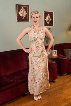Vintage 1930s Gown Gorgeous Floral Print Backless by FabGabs
