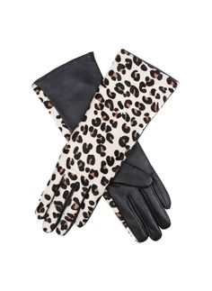 DENTS -  A/W 13 Leather glove with leopard print back