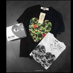 COMME des GARÇONS NEW O neck Camouflage shirt UNISEX (for man & women) ,size L ,solid pattern..100 % cotton and made in Japan!! Comme des Garcons Tops Tees - Short Sleeve