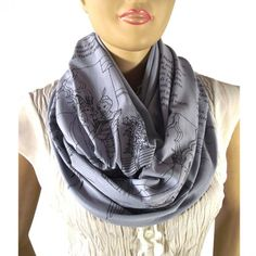 Dante's Inferno The Divine Comedy Literary Scarf - Grey. #colorful  #style #clothing #scarves #fashionista 9thelm.com