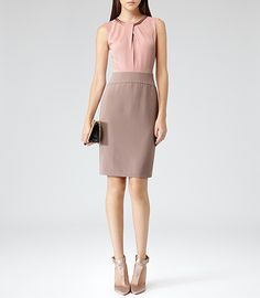 Womens Sorbet/powder Pink Embellished Two-tone Dress - Reiss Rio