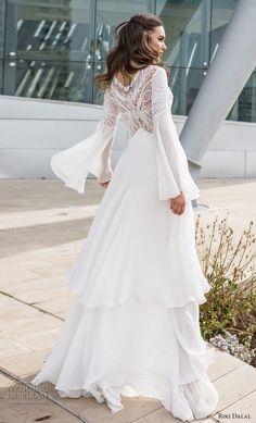 riki dalal 2018 noya bridal long bell sleeves v neck heavily embellished bodice tiered skirt a line wedding dress lace back sweep train (4) bv