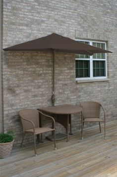 Blue Star Group - TERRACE MATES Daniella Coffee Patio Bistro Set with 9 ft. Chocolate Olefin Half-Umbrella - An extraordinary new product for expanding your outdoor leisure living. All-weather wicker and aluminum frames. Outdoor Wicker Furniture, Patio Furniture Sets, Outdoor Decor, Garden Furniture, Patio Umbrellas, Bistro Set, Tear, Outdoor Settings, Sliding Glass Door