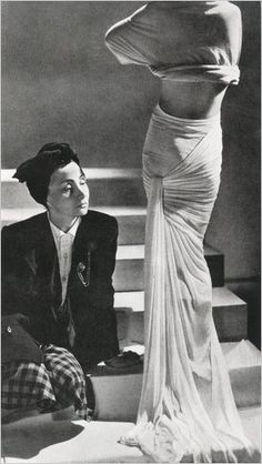 """Madame Grès  """"While not as well known as Vionnet, Chanel or Schiaparelli, Gres was also an influential couturier,"""" Granata said. The designer is best known for her classically inspired floor-length pleated gown, and Minniti calls her """"the master of the wraped and draped dress."""""""