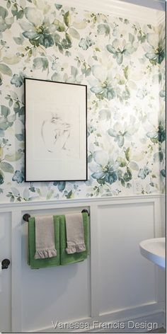 wallpapered bathroom- watercolour florals for 2013