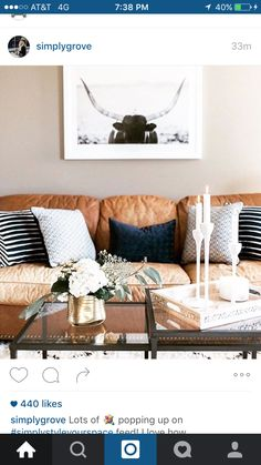super ideas for living room colors with brown couch cozy spaces Navy Living Rooms, New Living Room, Up House, Living Room Inspiration, Room Colors, Decoration, Home Office, Family Room, Lounge