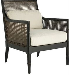 black and cane chair