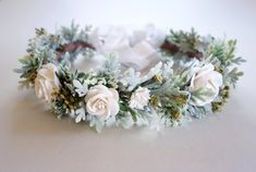 WINTER WEDDING FLOWER CROWN // BRIDAL HEADDRESS Sweet and feminine…this lovely keepsake flower crown is made with white paper roses, artificial Queen Anne's Lace, & faux Dusty Miller foliage in a clean color palette of white, sage green and a bit of olive green. It is sure to make