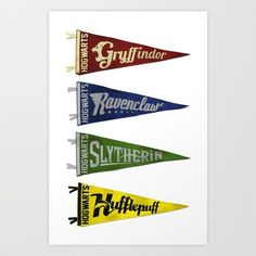 Vintage Hogwart's Pennant Collection Art Print by Andy Pitts - $15.00