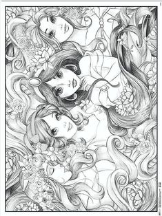 Baby Coloring Pages, Detailed Coloring Pages, Coloring Pages To Print, Coloring Books, Disney Princess Coloring Pages, Disney Princess Colors, Colorful Drawings, Cute Drawings, Beauty And The Beast Drawing