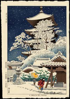 Asano Takeji: Snow In Toji Temple - 東寺雪景 - Ohmi Gallery