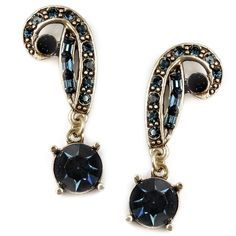 Inspired by 1920s Art Deco style, these glamorous earrings shine with bold blue crystal accents. Decorated with an antiqued bronze finish, these captivating dangle earrings are crafted with pewter and held with secure post clasps.
