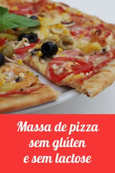 Aprenda a fazer uma massa de pizza caseira sem glúten e lactose. Receita fácil para matar a vontade de comer pizza. Dairy Free Recipes, My Recipes, Vegan Recipes, Cooking Recipes, Low Carb Recipes, Best Diet Breakfast, Pizza Vegana, Lactose Free Diet, Easy Dinner Recipes