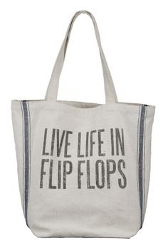 Burlap Beach Bag -Available in 3 sayings! * LIVE LIFE IN FLIP FLOPS * ON BEACH TIME * A GOOD DAY AT THE BEACH ENDS WITH SANDY TOES AND A SUNBURNED NOSE