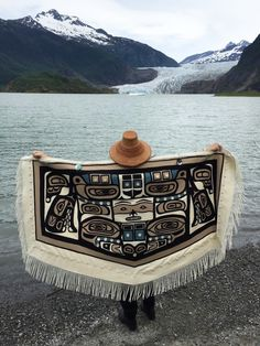 On Earth Day, we published a beautiful photo of Linda Benson Kusumoto in her traditional Chilkat robe standing in front of the Mendenhall Glacier in Alaska. To us, it captured the spirit of celebra… Native American Fashion, Native American Art, Coast Outfit, Moving To Alaska, Indian Arts And Crafts, Pendleton Woolen Mills, Tlingit, Native Design, West Art