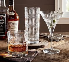 Cut Plaid Glassware, Sets of 6 #potterybarn dbl old fashioned $88/60