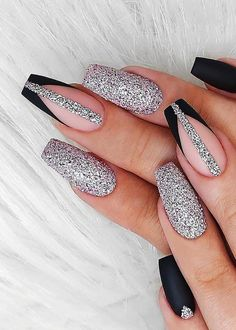 Acrylic Nails Coffin Short, Coffin Shape Nails, Fall Acrylic Nails, Chic Nails, Stylish Nails, Swag Nails, Cute Acrylic Nail Designs, Glitter Nail Designs, Coffin Nail Designs