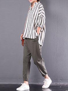 Casual Outfits, Fashion Outfits, Womens Fashion, 90s Fashion, Fashion Online, Fashion Tips, Vertical Striped Shirt, Striped Shirts, Cotton Shirts