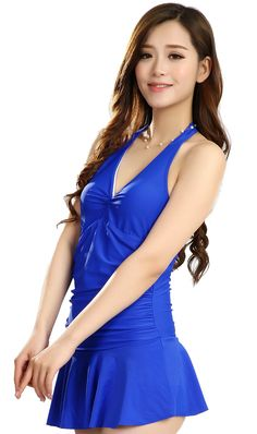 5468053836 Women s Solid Blue Color One Piece Brief Conjoined Swimsuit Pleated Halter  Top Sexy V Neck Swim