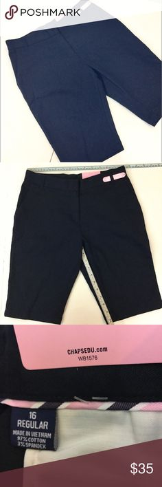"""RALPH LAUREN CHAPS NEW 16 Navy Shorts Uniform Girl New with tags!  Size 16-girl. Shorts have an adjustable waist. Easy care. Girls approved school wear. Approximate measurements: Waist 14"""", 10"""" inseam. Chaps Bottoms Shorts"""