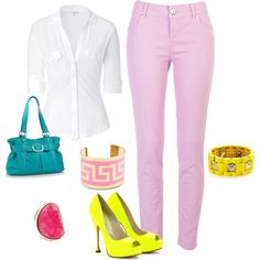 I love skinny lilac pants :)and this whole outfit