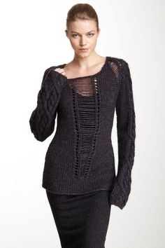 SUCH a cool sweater! Love...  Open Chunky Knit Sweater by Cut25 on @HauteLook
