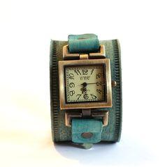 Green Watch Bracelet, Women Cuff Watch, Leather Watch, Teal Wrist Watch, Leather Band Watch