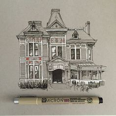 #art #drawing #pen #sketch #illustration #linedrawing #house #architecture
