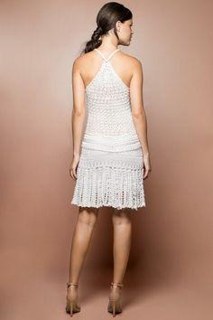 Vestido Crochet Long Reaf Branco - Vanessa Montoro - vanessamontoro