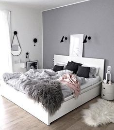 Sublime Useful Tips: Minimalist Living Room Tv Fire Places minimalist home with kids clutter.Minimalist Bedroom Scandinavian Grey minimalist home office decoration.Minimalist Home Office Layout. Dream Bedroom, Home Bedroom, Warm Bedroom, Grey Wall Bedroom, Bedroom Green, Bedroom Black, Gray Bedroom Decor, Light Gray Bedroom, Decor Room