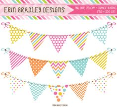 Instant Download Pink Yellow Blue & Orange Banner Flag Bunting Commercial Use Clipart Graphics