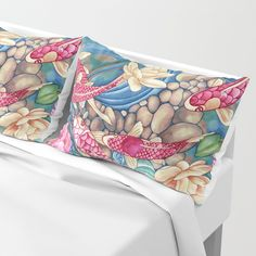 Koi Pond Pillow Shams by Vikki Salmela, sleep in a zen dream world with these watercolor #Koi swimming along #Lilies, flowers, and water falls. Coordinating #duvet covers, #comforters, #rugs, #tapestries, throw #pillows, bath #towels and wall #art available for inspiring new #home #decor ideas. Perfect original #gift solutions!