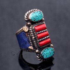 Bijoux Ethniques Indiens Népal Bague Turquoise Lapis-Lazuli Racine de Corail Népalais Plaqué Argent Deevyah 02