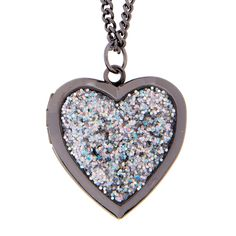 Glitter Heart Locket Pendant Necklace | Let love sparkle and shine. Silver glitter covers a hematite heart on this sweet pendant necklace. Locket snaps open and can store a small picture of someone you hold close to your heart.
