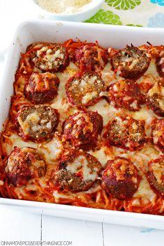 Cheesy Baked Spaghetti and Meatballs