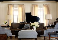 via BarbaraBarry.com  I love the color combination of cream, blue and brown, & a punch of black.....the room colors are softly colored and so elegant in combination. Classic.
