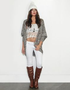 Grey cardigan, white shirt, denim jeans, white beanie, and brown boots.