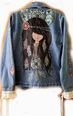Native American Womens Blazer Painted Jacket by BoutiqueWhimsy Painted Jeans, Painted Clothes, Hand Painted, Custom Denim Jackets, Moda Country, Denim Art, Denim Ideas, Denim And Lace, Boho