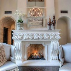 Photo of Fratantoni Interior Designers - Scottsdale, AZ, United States. Mediterranean Villa Custom Luxury Home By Fratantoni Interior Designers Home Fireplace, Fireplace Remodel, Modern Fireplace, Fireplace Surrounds, Fireplace Design, Fireplace Mantels, Mantles, Classic Fireplace, Fireplace Ideas