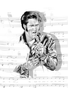 Elvis: Always in tune, pencil art by Betty Harper - http://dunway.com - http://www.imoviesclub.com/?hop=dunway