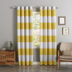 Featuring a triple weave construction, these cabana striped curtain panels are insulated and block light on hot days. The panels are east to hang with the stainless steel grommets and come with matching tie backs. Machine washable.