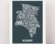 MELBOURNE - Suburban Type Print