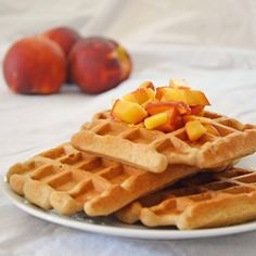 Cinnamon Honey Peach Waffles