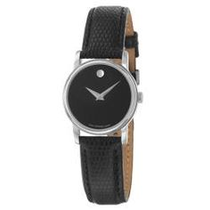 @Overstock - The Movado Collection wristwatch features a black dial with the Movado signature dot at 12 o'clock. A stainless steel case and black leather strap complete the look of this women's casual watch.http://www.overstock.com/Jewelry-Watches/Movado-Womens-Collection-Stainless-Steel-and-Leather-Quartz-Watch/6471132/product.html?CID=214117 $279.89....MY SIS WOULD LOVE THIS