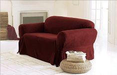 awesome Green Living Group Chezmoi Collection Soft Micro Suede Solid Red Couch/Sofa Cover Slipcover with Elastic Band Under Seat Cushion, Burgundy