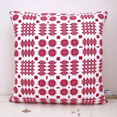 Rose Organic Welsh Blanket Cushion - Folksy