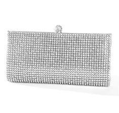 Evening Bag with Bezel Set Crystals - Silver