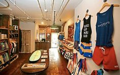 Few way posts signify the intersection of art and commerce more than a great retail establishment. This is a great retail establishment: Saturdays Surf in NYC...an unexpected place to find a better-than-California surf shop with sharper inventory and beautiful interior, filled with the icons of one of the most iconic of all sports. Visit on your next trip to NYC....very well done.
